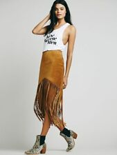 Free People Sedona Leather Fringe Skirt-M-$398 MSRP