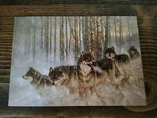 Vtg Leanin Tree 12 Fine Art Christmas Cards Wolf Wolves Wild Larry Fanning 1989