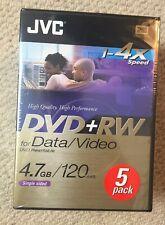 JVC DVD-RW 4.7 GB  Pack Of 5 +RewritableNEW AND SEALED