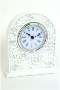 Clock White Floral Daisy hand painted design Arched Mantel Clock