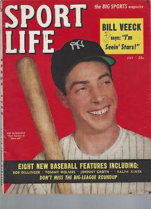July 1949 Sport Life Magazine JOE DIMAGGIO BILL VEECK BOB DILLINGER TOMMY HOLMES