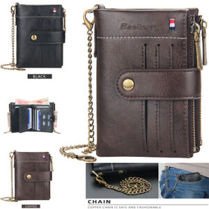 Men Men's Leather Wallet ID Sim Credit Card Holder Double Zipper Coin with Chain