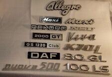 Vintage Lot of 13 Car Emblem Allegro Maxi Rekord 2000 Gt Hood Badges Chrome Trim