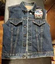 LEVI'S VEST W/ MOTORCYCLE PATCHES DENIM JEAN VEST