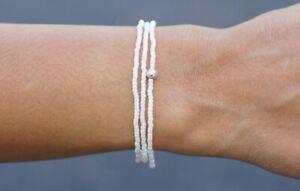 Sashka Co WHITE Wrap Bracelet Glass Bead Nepal Handmade Fair Trade + Gift Wrap