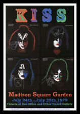 """Framed Vintage Style Rock n Roll Poster """"KISS AT MADISON SQUARE GARDEN""""; 12x18"""