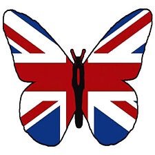 ✿ 24 Edible Rice Paper Cup Cake Topper, decorations - Union Jack butterfly ✿