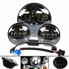 "Fit Harley Touring 7"" Led Projector Daymaker Headlight + Passing Lights Black"