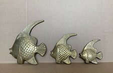 Set of 3 Pcs Vintage Brass Tropical Fish 3D Wall Decor Hangings Made in India