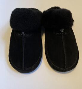 Bearpaw Loketta Genuine Sheepskin  Fur Lined  Slipper Black Women Size 7 New