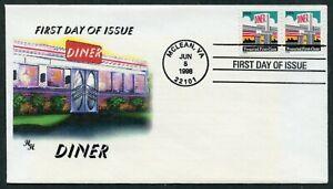 1998 SC #3208 DINER FDC - HH CACHET (de909)