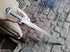 "38"" DAMASCUS SILVER WIRE WRAP HANDLE HANDMADE VIKING SWORD"