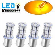 4x Amber/Yellow 1156 BA15S 18-SMD RV Interior LED Light Bulbs Turn Signal 7257