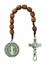 1 Decade St BENEDICT Rosary Saint Protection Medal Crucifix Brown Wood