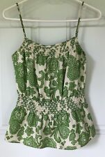 Etcetera Women's Sz 0 XS Green White Paisley Silk Tank Top Spaghetti Strap Shirt