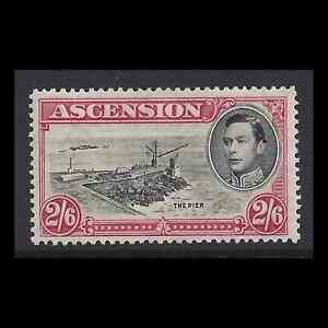 Ascension 1938/53 KGVI 2/6 Black & Deep Carmine PERF 13.5 SG 45 Cat £45 M/...