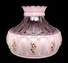 "Frosted Glass Student Lamp Shade Purple Violets 10"" Kerosene Oil Electric New"