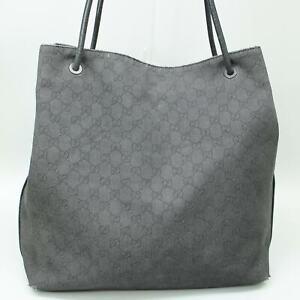 GUCCI GG Pattern Canvas Tote Bag Shoulder Purse Black 101340 204990