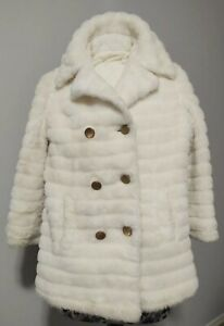 Girls Vintage 70's Sears Fashion Faux Fur White Button Up Collar Luxury Coat
