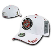 White US Military Marine Corps Marines USMC Logo Patch Baseball Cap Caps Hat
