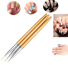 3X Brosse Pinceau Ongle Vernis Liner Dotting Dessin Peinture Nail Art Tips Stylo