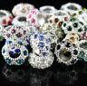 10X Czech Crystal Rhinestone Silver Big Hole Spacer European Charm Beads 6x11mm