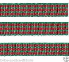 """5yds 3/8"""" RED GREEN CHRISTMAS Polyester Checkered Check Gingham Ribbon"""