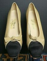 Women's Ferragamo Ecru Leather Black Grosgrain Fabric Cap-Toe Pumps Sz. 10.5AAA