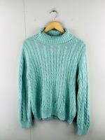 Tommy Hilfiger Women's Vintage Knit Turtle Neck Pullover Jumper Size XL Green