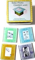 Set 4 Multicoloured Glass Picture Frame Baby Photo Coasters Drinks Holder Set