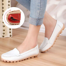 New Womens Ladies Soft Leather Work Casual Ballet Slip On Loafer Flat Shoes Size