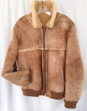 STRATOJAC Shearling Leather Jacket  Mens 42 Coat MARLBORO Bomber Barn Rancher