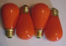 4 Ceramic Orange Marquee/Sign/Amusement Park/Party Light Bulbs Standard Base