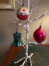 3 Vintage Glass Christmas Ornaments Fruit Basket Bell Almond Shape Yule Holiday