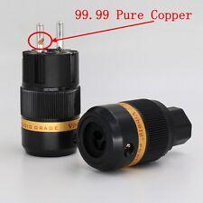 pair Viborg VE501R+VF501R Pure Copper Rhodium Plated Schuko EU AC Power Plug