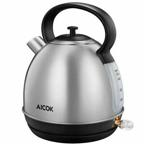 NEW AICOK 1.7-Liter Brushed Stainless Steel RETRO Electric TEA Kettle 1500W