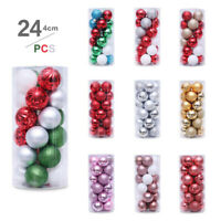 24Pcs Christmas Tree Glitter Balls Bauble Hanging Decor Home Party Ornaments 4cm