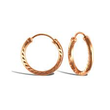 9ct Rose Gold Diamond Cut Hoops - Sizes 14mm 18mm
