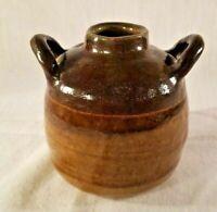 "Vintage Crock Jug Two Tone Brown 5"" Small Jug Two Handle Primitive Pottery"