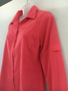 Columbia shirt womens 12 pink grey button up golf sun protection summer casual M