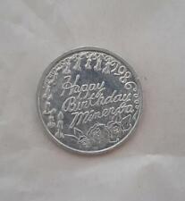 """Happy Birthday Minerva"" 1986 doubloon/token, 10 candles & roses, goddess"