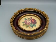 Antique Ornate Petit Point Round Gesso Gold Gilt Frame Victorian Flowers Roses