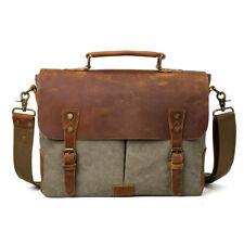 Genuine Leather&Canvas Shoulder Bag Briefcase Laptop Sling Messenger Satchel