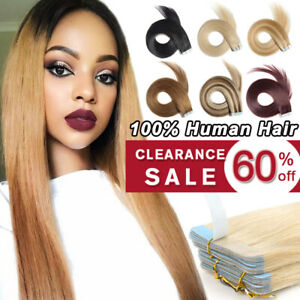 """CLEARANCE Tape in 100% Remy Human Hair Extensions Full Head Skin Weft 10-24"""" uuu"""
