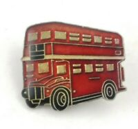 Vintage London England Red Double Decker Bus Enamel Lapel Pin FREE SHIPPING