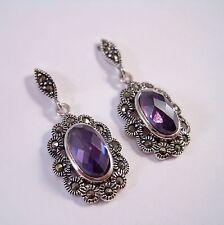 Solid  925 Sterling Silver Earrings Marcasite CZ Earrings. Purple. Drop/dangle.