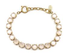 CATHERINE POPESCO 8mm Faceted Round Cut Cream Swarovski Crystal Gold Bracelet