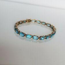 "14k Emerald Cut Blue Spinel Tennis Bracelet (7.25"")"