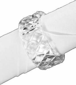 """12 Crystal Cut Glass Look Plastic Napkin Rings Fun and Elegant 2"""" in Diameter"""