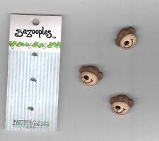 """Novelty Designer Button-Vicki Schreiner-Max The Monkey-7/8"""" Shank Back-3Pc"""